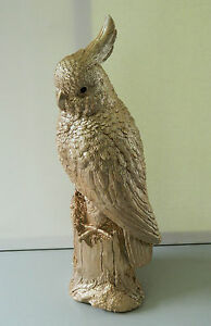 ROSE GOLD WOOD EFFECT EXOTIC AFRICAN GREY PARROT OR  ROOSTER OR COCKATOO