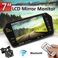 7''TFT LCD Bluetooth Car Rear View Cam Parking Mirror Monitor + Reversing Camera