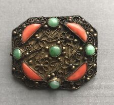 An Antique Chinese Brass Mounted Filigree Decorated Coral & Jade Pin