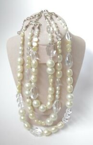 NICE Chunky 3 Strand Faux Pearl and Clear Lucite Necklace