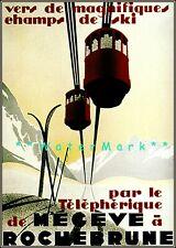 Ski Megeve a' Rochebrune 1933 France Ski LIft Vintage Poster Print Retro Art
