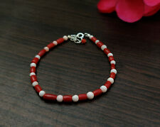Natural Red and White Coral Bracelet, Handmade 925 Silver Coral Bracelet