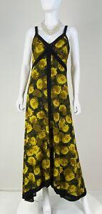 Isabel De Pedro New 12 US 48 IT L Black Floral Stretch Maxi Long Dress Runway