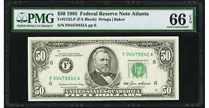 $50 1985 Federal Reserve Note Atlanta PMG 66 EPQ Gem Uncirculated