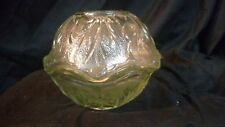 Vintage Green Indiana Glass Pebble Leaf Fairy Candle Lamp,  1970s Mid Century