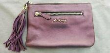 Aimee Kestenberg Leather Zip Pouch with Tassel in Plum Metallic