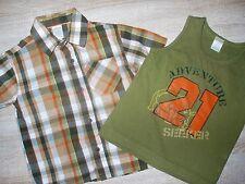 Set Gymboree Taglia 3t 92 98 Camicia Shirt T-SHIRT MAGLIETTA portante marrone arancione a quadri