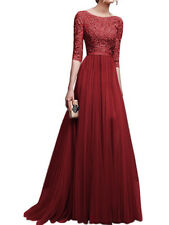 New Long Chiffon Lace Evening Formal Party Ball Gown Prom Bridesmaid Dress 6-16