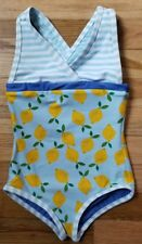 NWT HANNA ANDERSSON BLUE LEMONS REVERSIBLE ONE PIECE SWIMSUIT SOLD OUT 100 3 4 5
