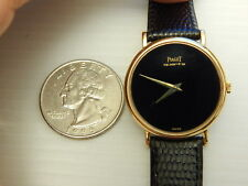 GENUINE PIAGET SOLID 18K YELLOW GOLD ONYX BLACK RONDE 27MM LADIES DRESS WATCH