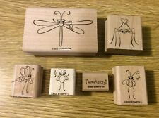 "Stampin' Up! Set of 6 Wooden Rubber Stamps ""Cute as a Bug"" Bugs Insects"