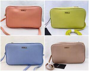 NWT FURLA Lilli Saffiano Leather Crossbody Double Zip Pouch Camera Bag