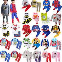 2pcs Kids Cartoon Sleepwear Outfits Set Boys Girls Winter Nightwear Pj's Pyjamas