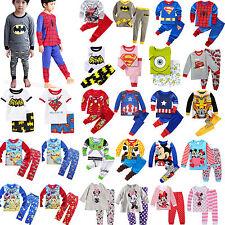 2pcs Kid's Baby Cartoon Sleepwear Outfits Set Boys Winter T-shirt Pants Pajamas
