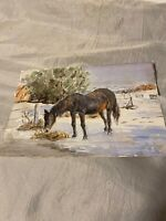 Vintage Unframed Painting Watercolour Horse