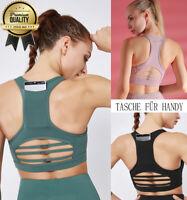 Sport BH Bustier mit Handy Tasche TOP seamless ohne Bügel Yoga Fitness Damen