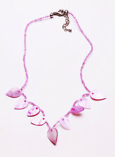 PLEASING BABY PINK PEARLESCENT TEARDROP AND BEAD NECKLACE, ADJUSTS 5CM (ZX41)