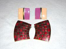2 Pairs of 80's Style Enameled Stud Earrings Lot