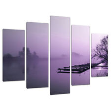 Five Part 5 Canvas Purple Landscapes Wall Art Pictures Set 5119