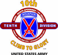 """10TH MOUNTAIN DIVISION """" CLIMB TO GLORY"""" BATTLE & CAMPAIGN SHIRT"""
