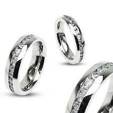 Steel Eternity Cz Gem Ring Wedding Engagement Anniversary Bridal Band Stainless