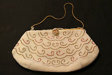 ELEGANT!! Vintage May's Beaded Clutch!!! glass beaded HEAVY new price