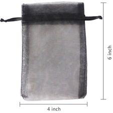 50 pcs Organza Jewelry  Bag Display Drawstring Wedding Party  Black 5x7 inches