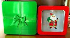 Lot of 2 Square Decorative Tins - Christmas, Holiday, Gift, Santa - Window, Bow