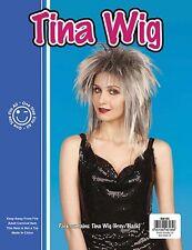 New TINA TURNER 70s 80`s POP STAR Grey/Black WIG 4 ADULT FANCY DRESS COSTUME UK