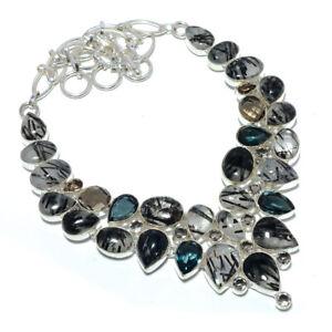 """Black Rutilated Quartz & Smoky Quartz 925 Sterling Silver Necklace 17.99"""" S617"""