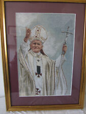 "Pope John Paul II Framed Tapestry 16""W x 22"" H Nice Clean Piece."