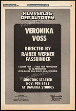 VERONIKA VOSS__Original 1981 Trade AD promo / poster__RAINER WERNER FASSBINDER