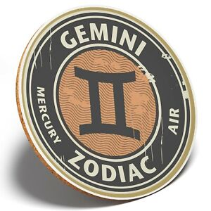 1 x Gemini Zodiac Horoscope Star- Round Coaster Kitchen Student Kids Gift #4670