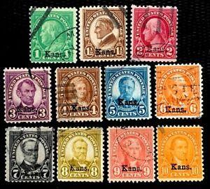 1929 US Stamps SC #658-668 Kansas Overprint Complete Nice Used Set CV:$174