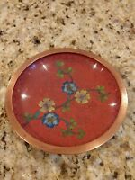 Vintage Chinese Copper Cloisonne Trinket Pin Dish