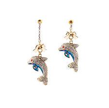 Exquiste Anthropologie Dolphin Blue Enamel Rhinestone Earrings