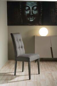 Set di 2 sedie DELIA in tessuto alcantara