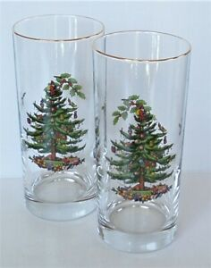 """Lot of 2 HIGHBALL Drink Glasses w/Gold Trim (6.25"""") CHRISTMAS TREE by Spode"""
