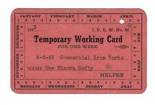 1943 IBEW WWII Era Work CARD COMMERCIAL Iron WORKS Union Organized Labor member