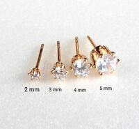 Men Kids Trainer Tiny Stud Earrings 18K Gold Plated 2-5mm CZ Cubic Zirconia UK