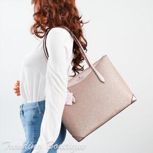 NWT Kate Spade New York Shimmy Glitter Tote Shoulder Bag in Rose Gold
