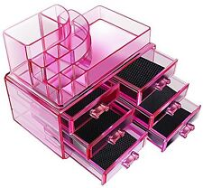Acrylic Pink Cosmetics Organizer 6 Drawers with 8 Compartments Top Section ~USA