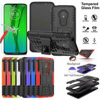 For Motorola Moto G7 Play Shockproof Stand Case Tempered Glass Screen Protector