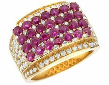 Men's 14K Yellow Gold Real Diamond Ruby Iced Statement Pinky Ring 5 1/10 CT 16MM