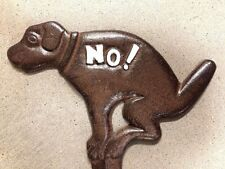NO DOG POOP YARD SIGN, brown with white no dog pooping allowed iron garden stake