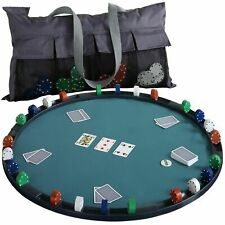 More details for cloth game table topper poker bridge playing cards casino tabletop mat 84cm new