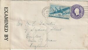 1942 USA IIWW censored cover sent from San Francisco CA to Douglas, Isle of Man