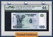 """TT PK 92A 2000 CONGO DEMOCRATIC REPUBLIC 100 FRANCS """"ELEPHANT"""" PMG 64 EPQ"""