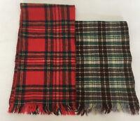 vintage scarve  2 piece lot neck scarf  tartan plaid with short fringe red green