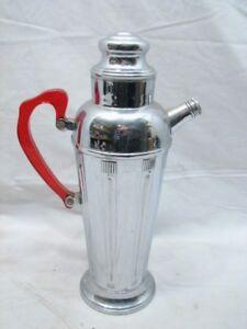Art Deco Chrome Steel Martini Cocktail Shaker w/Red Lucite/Bakelite Handle Retro